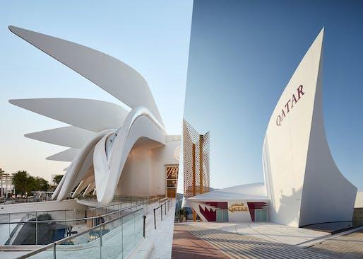Santiago Calatrava's UAE Pavilion (left) and Qatar Pavilion (right) at the Expo 2020 Dubai. © Palladium Photodesign - Oliver Schuh + Barbara Burg