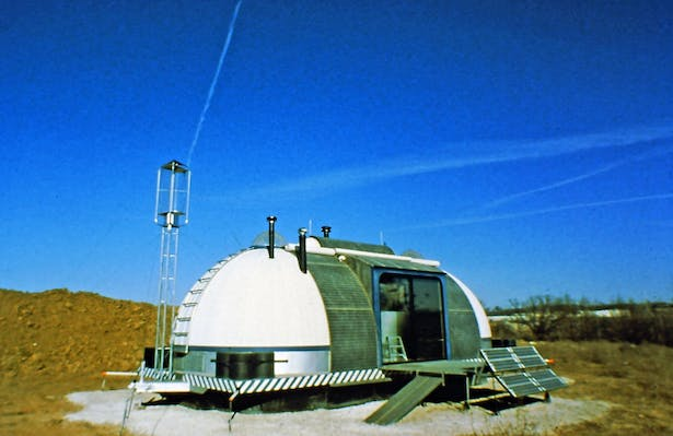 Solar and wind powered mobile autonomous Dwelling designed to fully function as a habitation structure for one person completely off of the grid 1979.