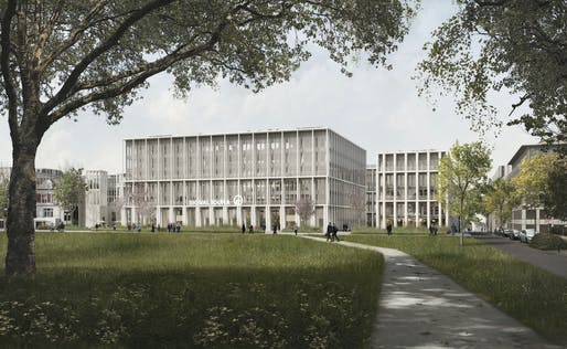 Rendering of the new Signal Iduna Group HQ in Hamburg, Germany. Courtesy of David Chipperfield Architects