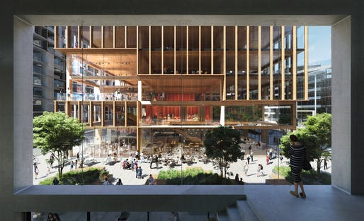 West Plaza, T3 Bayside designed by 3XN. Image courtesy of the firm.