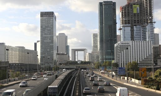 A view of the La Défense district, with La Grande Arche in the centre. The arch's roof has a viewing platform, restaurant and museum, but has been closed for four years. (The Guardian; Photograph: Michel Euler/AP)