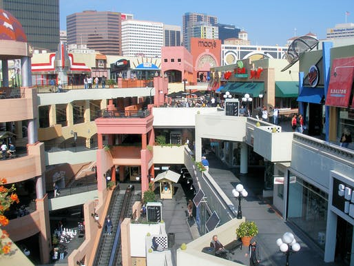 View of Horton Plaza's interior courtyard. Image courtesy of Wikimedia user Coolceasar.