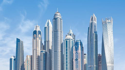 View of concrete-framed skyscrapers in Dubai. Image courtesy of Pexels.