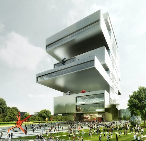 Winning design for Moscow's new National Center for Contemporary Arts (NCCA) by Heneghan Peng Architects. Image/Visualization by Luxigon