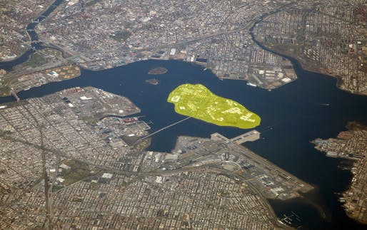 Aerial view of the East River in New York City with Rikers Island highlighted. Image courtesy of Flickr user Doc Searls.