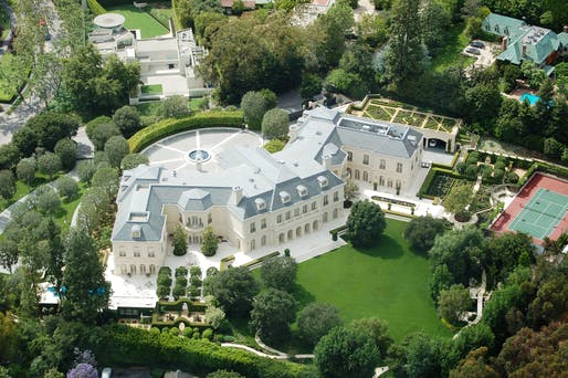 "Aerial photo of the Spelling megamansion ""The Manor"" in Los Angeles. The 56,500-square-foot property <a href=""https://archinect.com/news/article/150144519/56-000-square-foot-spelling-manor-sells-for-120-million-setting-new-california-record"">changed owners for $120 million</a> in 2019, setting a new California record at the time. Image courtesy of Atwater Village Newbie/<a..."