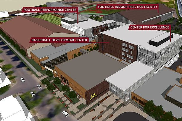 Aerial view of new building to be constructed.