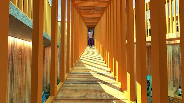 A bridge through the garden bar providing temporary relief within the maze