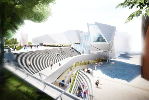 Rendering of the new Orange County Museum of Art building. Image: Morphosis Architects.