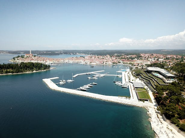 Aerial view of the GPHR with Rovinj in the background
