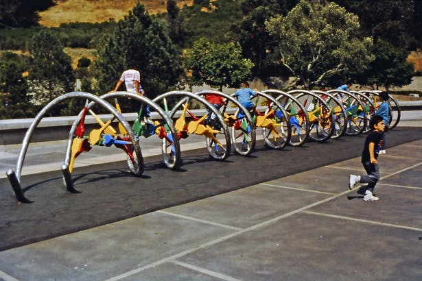 DNA climbing sculpture designed and built for the Lawrence Hall of Science at UC Berkeley, 1992.