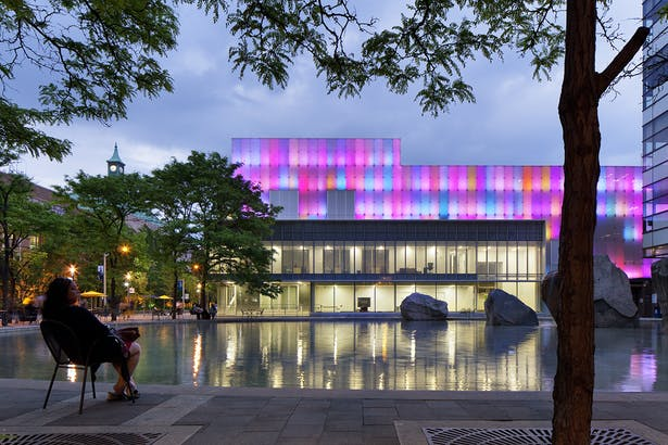 Ryerson Image Centre has an interactive light feature that wraps around all four sides of the building