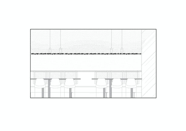 Longitudinal section Lounge with the coal vault Formafatal