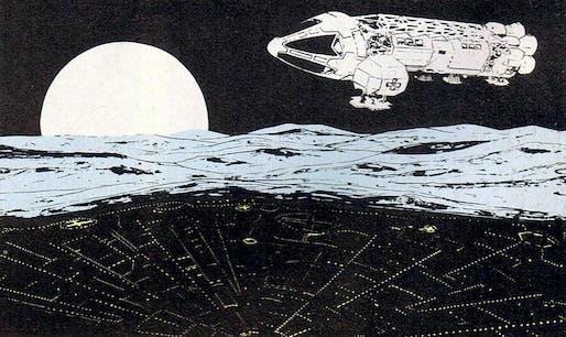 Moonship flying over Moon City, production art for Space: 1999 (1975) by Keith Wilson