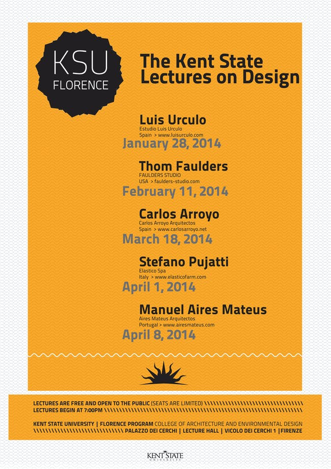 Kent State University Florence Program - Lectures on Design. Image courtesy of KSU Florence Program.