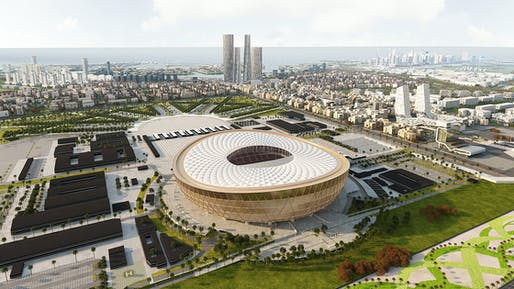 The Foster + Partners-designed Lusail FIFA World Cup Stadium. Image courtesy of Supreme Committee for Delivery & Legacy.