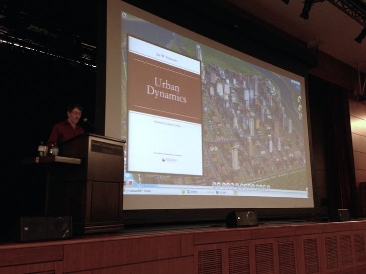 Will Wright gives his keynote address at ACADIA 2014. Photo by Amelia Taylor-Hochberg.
