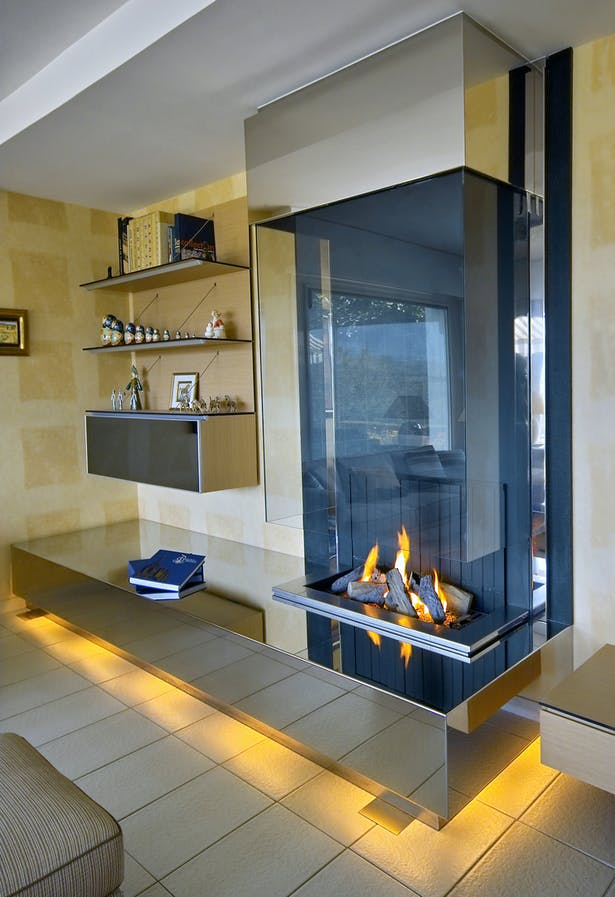 Bloch Design contemporary fireplace stainless steel 2