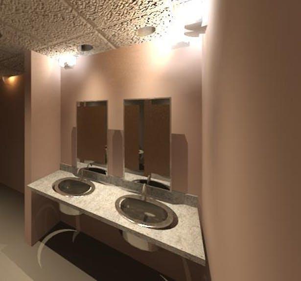 3D Restroom Rendering