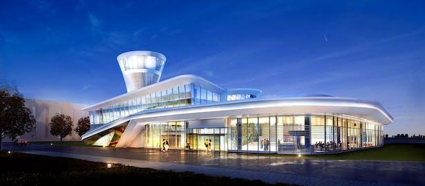 Flight Operations Building / FOB Exterior Ding Shu General Airport, Yixing Dushu, China / Cordogan Clark & Associates with Hanson