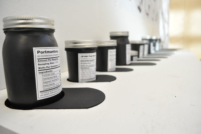 'Smell Jars' containing the scent of Atlanta's newly defined icons waiting for the jury to take a whiff.