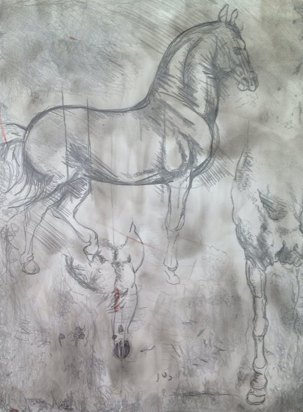 Remake of Horse by da Vinci, Pencil drawing