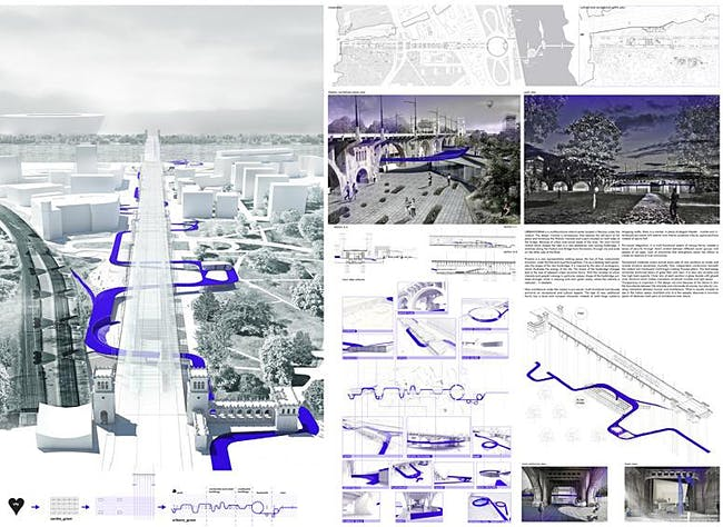 Honorable Mention: URBANOGRAM - Revitalization of the Poniatowski viaduct and bridge; Autor: Monika Ryszka; University: Cracow University of Technology; Country: Poland