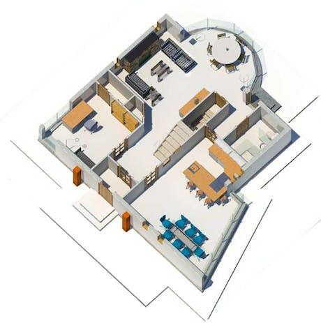 Single family residence. Isometric first floor plan.