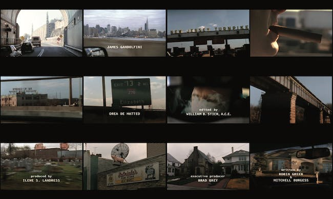 Video stills of the opening title sequence of the American television drama 'The Sopranos'. ©HBO 'Tony Soprano is emerging from the Lincoln Tunnel, entering the New Jersey Turnpike, one of the Greater New York Roads, and finally pulling into the driveway of his suburban home.'