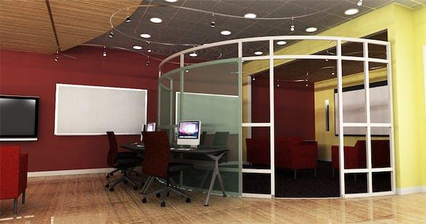 View towards screening and video editing enclosure