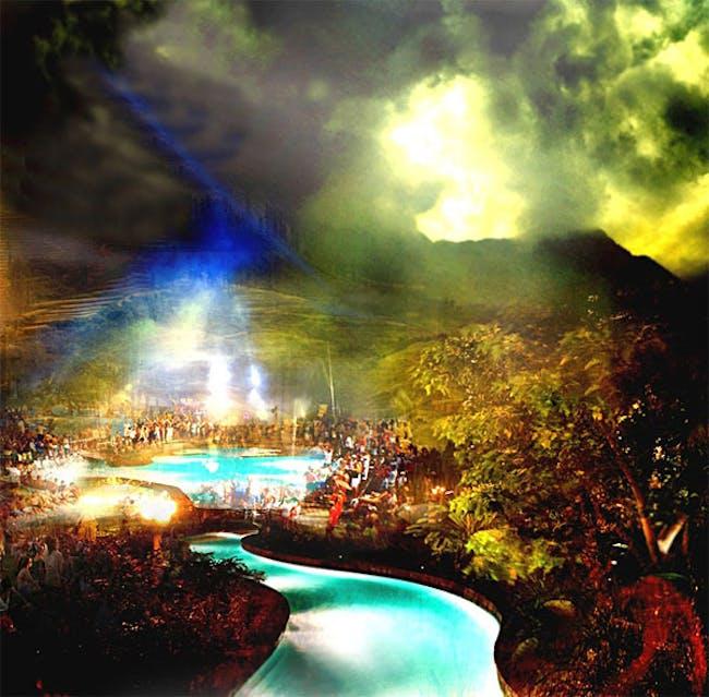 Yongsan Park, colorful LED pool © West 8 urban design & landscape architecture