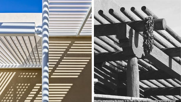 Shading, emphasizing the beauty of the NM sun light, while referencing historical language.