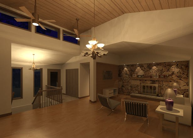 Rendering of Great Room with existing rock accent