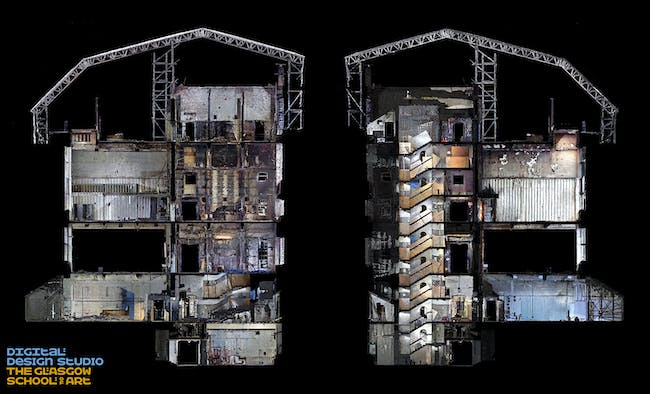 sectional view of the Mackintosh Building looking from east to west and west to east, Image: The Digital Design Studio at The Glasgow School of Art.