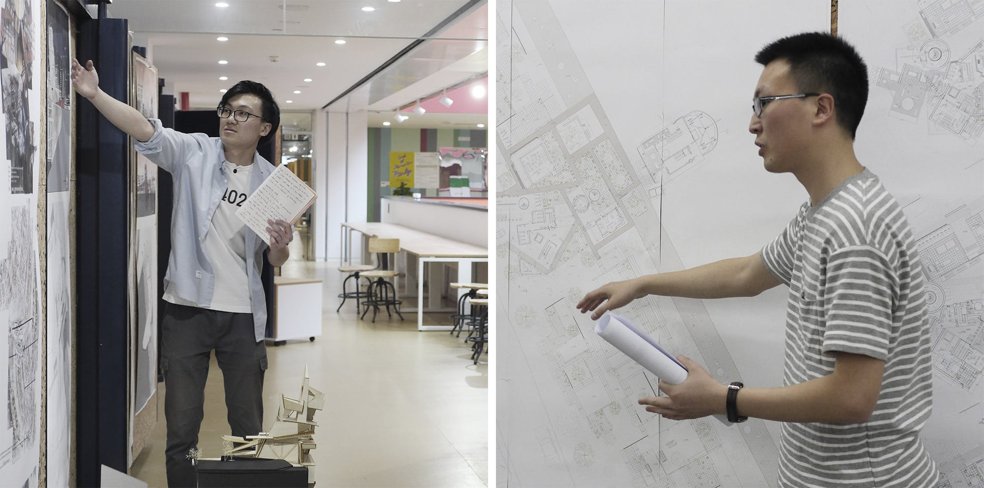 Li Shaokang (left) and Shao Fuwei (right) at their Final Project presentations at XJTLU's Department of Architecture in June 2017.