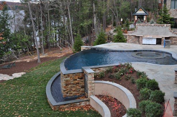 The pool, vanishing edge, waterfall, and trough