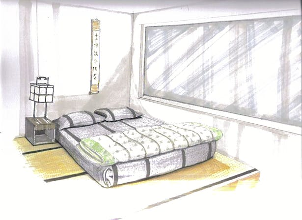 Sketch of bedroom proposal for my personal living space.