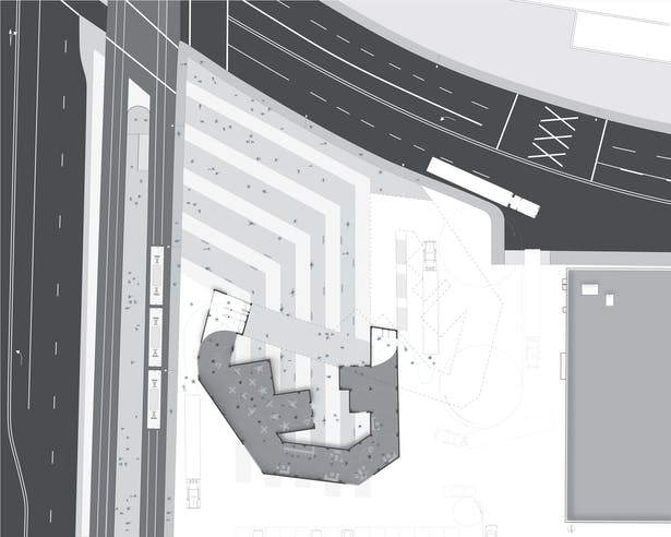 Ground floor plan showing highly activated space which includes wine bars, lounges, and outdoor garden spaces.