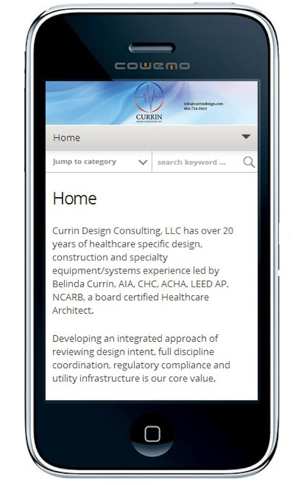 New website development for healthcare design architect. Developed website for viewing on both desktop and a variety of mobile devices (intuitive/responsive). Website as it appears on a mobile device.