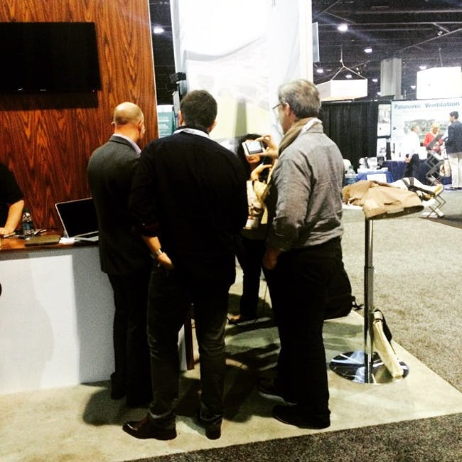 Back of the Sessions crew interviewing Autodesk on the AIA Expo floor. Photo by Gregory Walker.