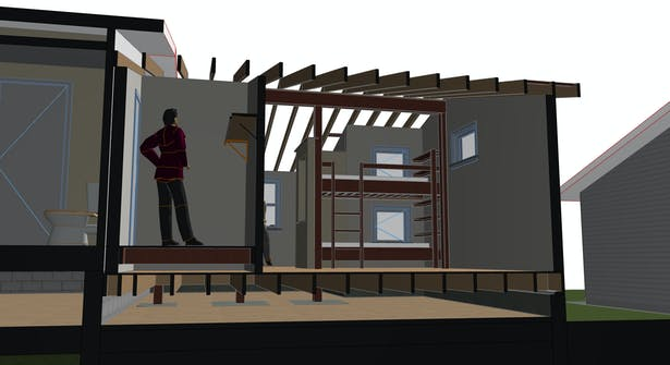 Working ArchiCAD Model - Color choices have yet to be made. SECTION THROUGH CLOSET AND BUNK ROOM