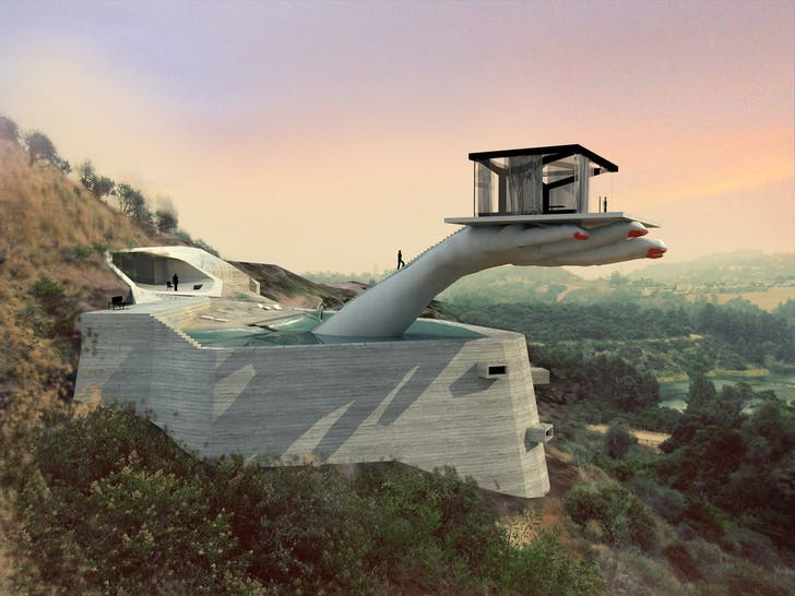 'Hand House' includes a massive hand jutting out of a modernist home in the Hollywood Hills. Playing off of tropes of Los Angeles, –from case study architecture to celebrity culture – the project is meant as 'portrait of LA through a twitter feed.' Credit: Andreas Angelidakis