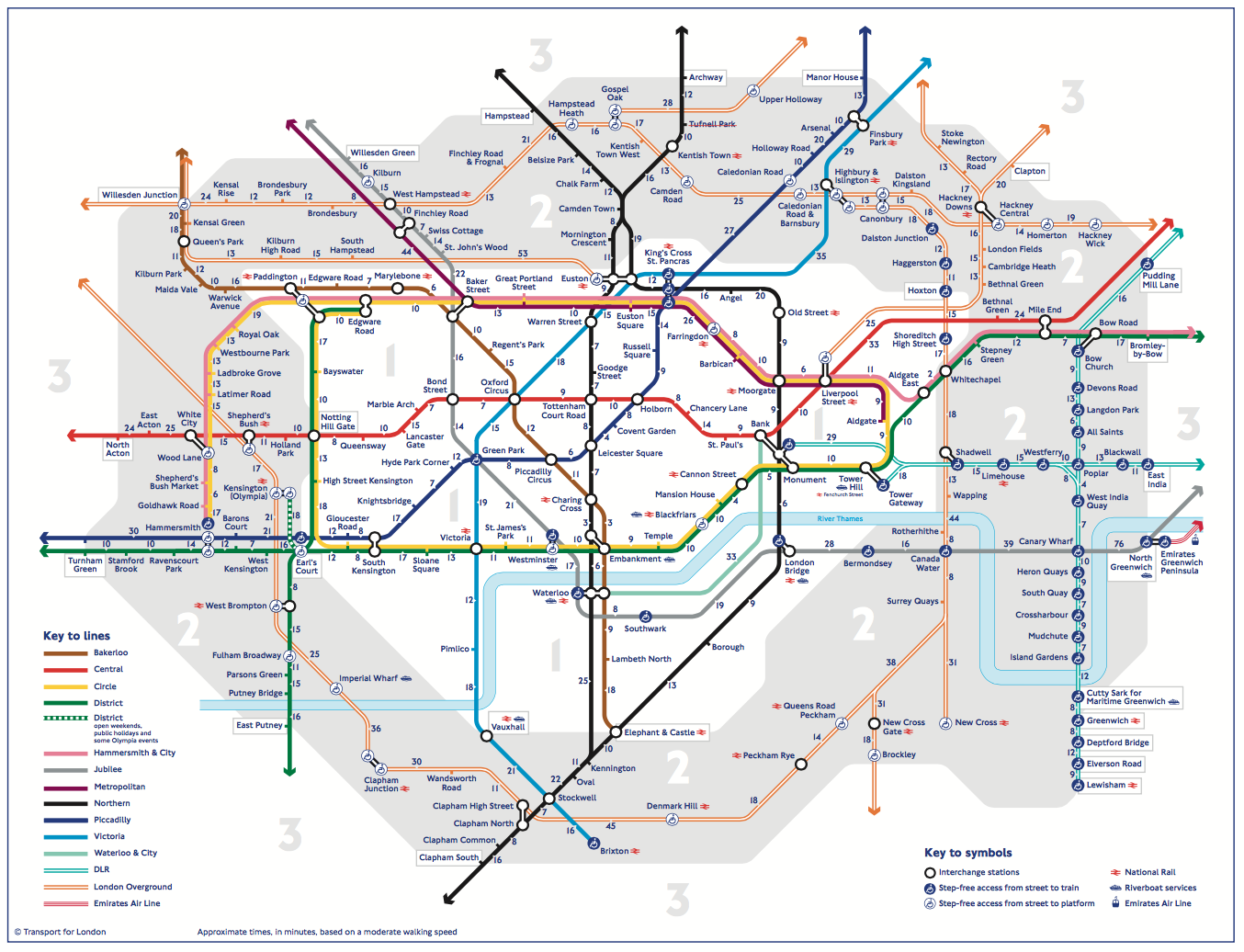 A new London Tube map shows walking times between stations News