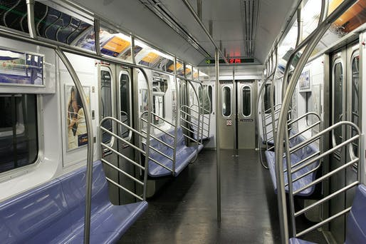 Empty NYC subway car. Image via Wikimedia.