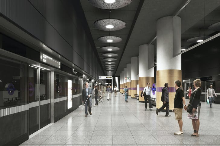 Rendering of the Woolwich station platform. Image courtesy of WestonWilliamson+Partners.
