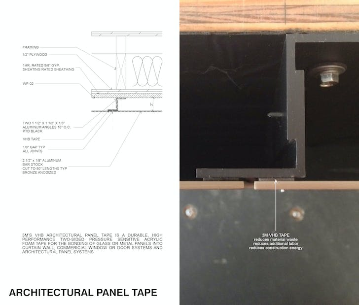 3M's architectural panel tape is a high-performance adhesive, typically used on aircraft carriers. Image courtesy of SPF:architects