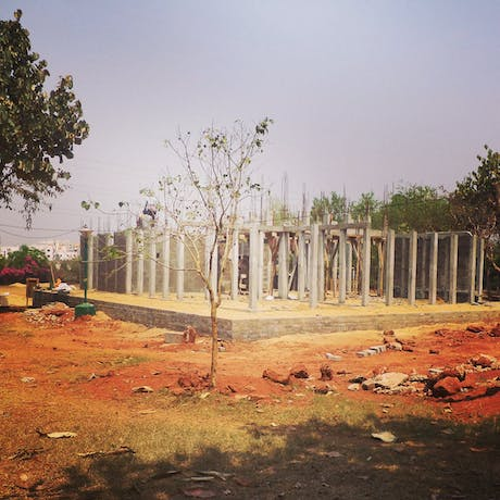learning center in Bhubaneswar, India, under construction