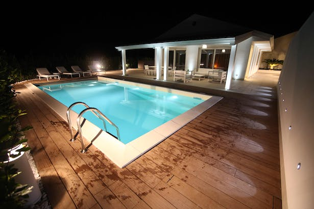 outdoor pool, night view