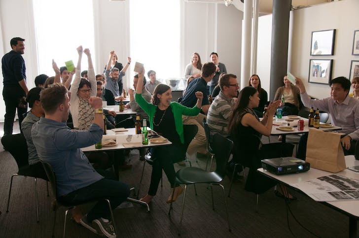 Playing a game of Sustainability Jeopardy. Photo Courtesy of FXCollaborative.