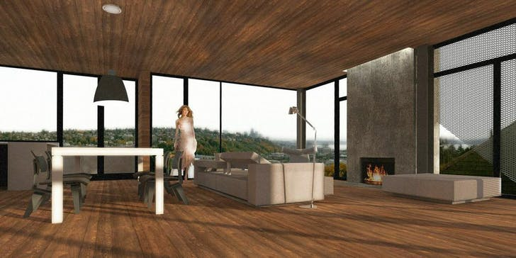Interior of Seattle Renovation rendering. Courtesy of TMDD.